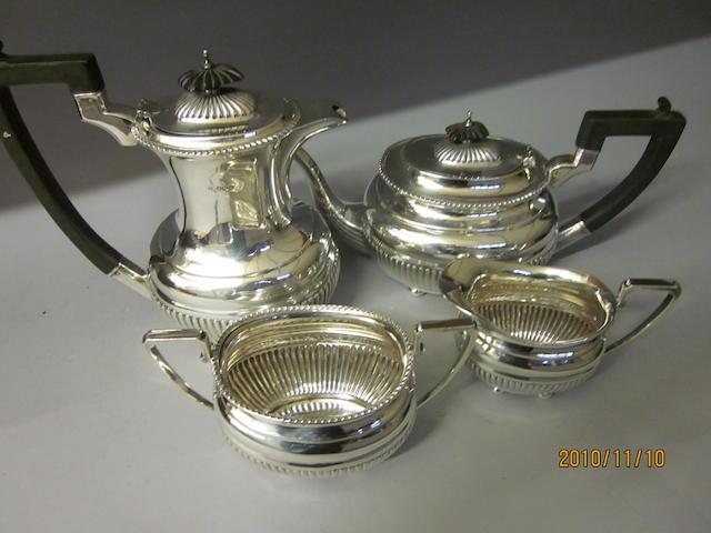 A four piece tea service, Sheffield 1947,