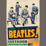 A poster for the Beatles' concerts at the Johanneshovs Isstadion, Stockholm, 28th/29th July 1964,