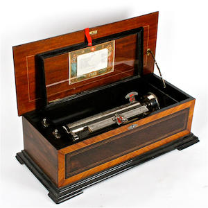 A musical box by P.V.F., for the American market, circa 1890,