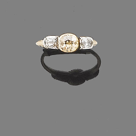An early 19th century diamond three-stone ring