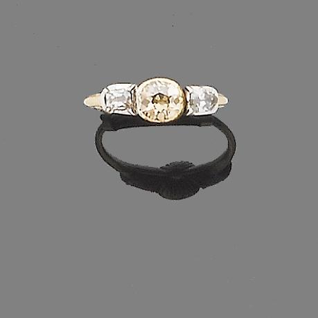 An early 19th century diamond three-stone ring