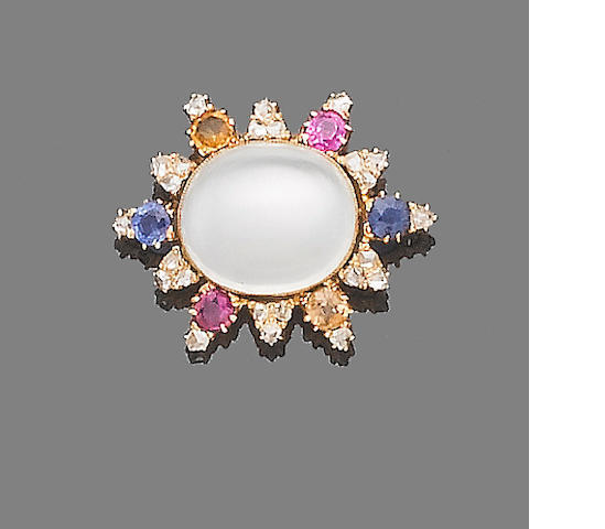 A moonstone, multi-coloured sapphire and diamond brooch,
