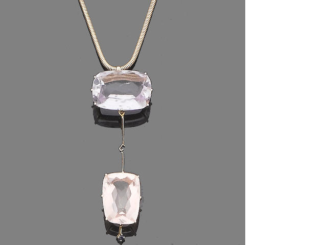 A quartz, sapphire and diamond pendant necklace, bracelet, earring and ring suite, by H. Stern (4)