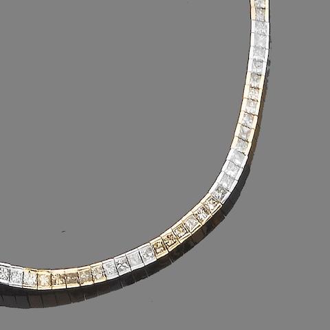 A diamond necklace and bracelet suite (2)