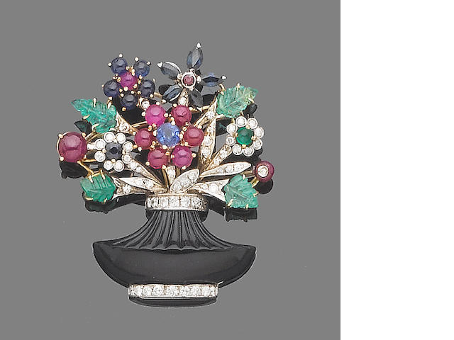 A gem-set and diamond giardinetto brooch