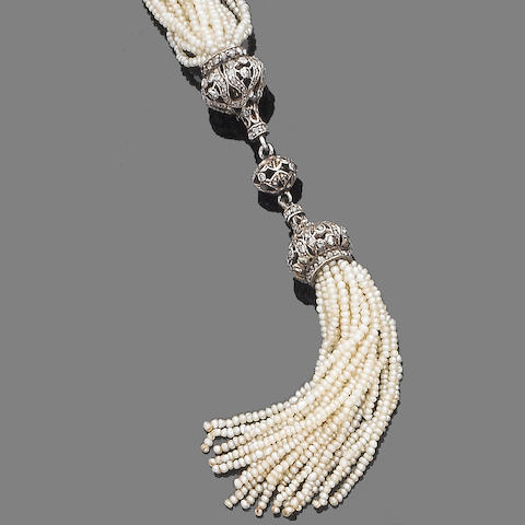 A seed pearl and diamond sautoir and pendent earring suite, (2)
