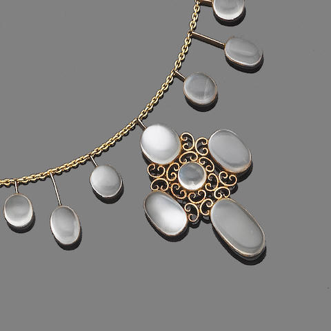A gold and moonstone pendant necklace and earring suite, (2)