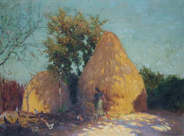 Guy Lipscombe, Guy Lipscombe 1919, Haystacks, oil on canvas, signed, 100cm x 130cm. Haystacks
