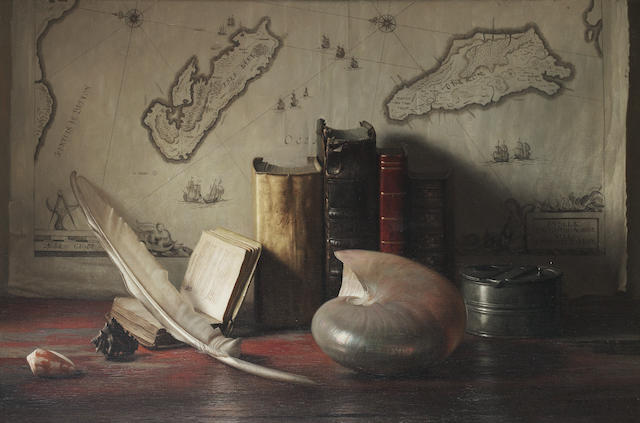 Jan Hendrik Eversen (Dutch, 1906-1995) Still Life with books, shell and quill with a map of the Ile de Re and Oleron in the background