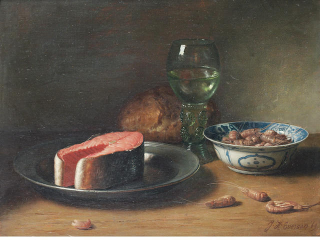Jan Hendrik Eversen (Dutch, 1906-1995) Still life of salmon and prawns