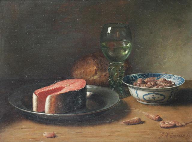 Jan Hendrik Eversen (Dutch, 1906-1995) Still life of salmon and prawns
