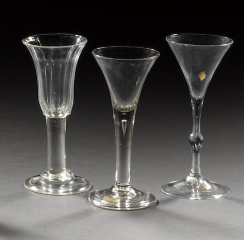 Three assorted wine glasses, circa 1740