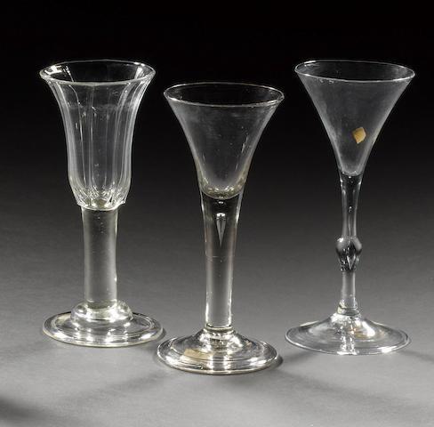 Three assorted wine glasses, circa 1740