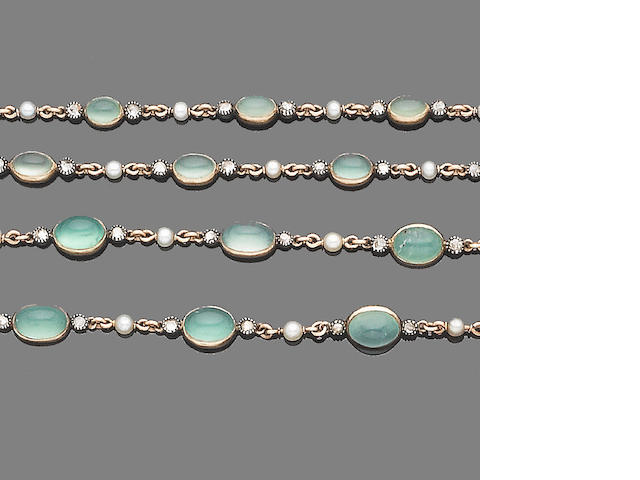 A chalcedony, seed pearl and diamond longchain