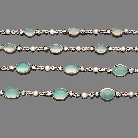 A chalcedony, seed pearl and diamond longchain