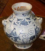 A large blue and white ovoid vase Possibly 16th Century