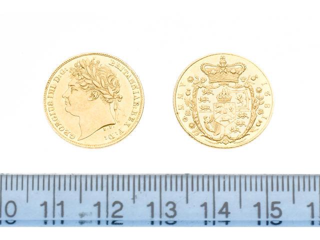 George IV, Half Sovereign, 1821, laureate head left,
