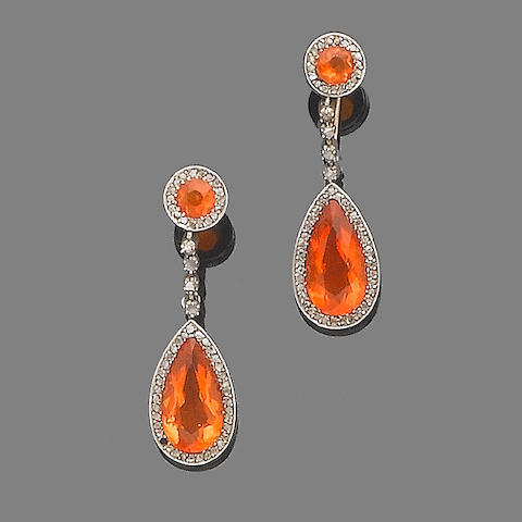 A pair of fire opal and diamond pendent earrings,