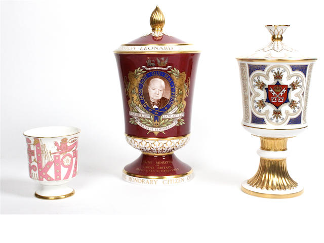 A Spode porcelain Winston Churchill commemorative vase and cover