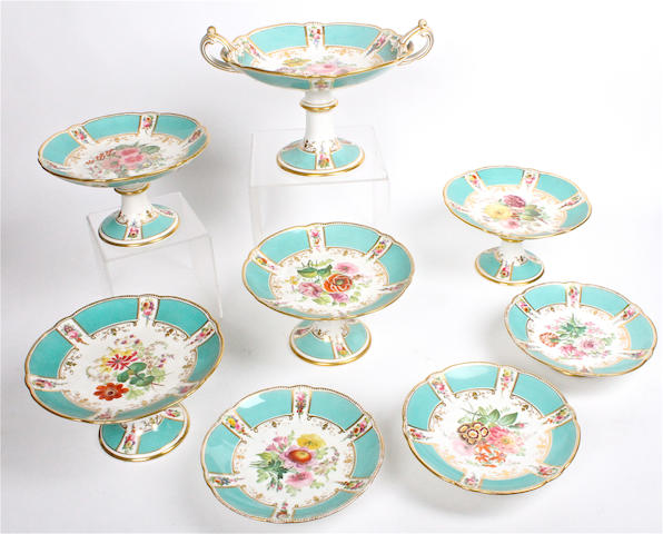An English porcelain dessert service Victorian