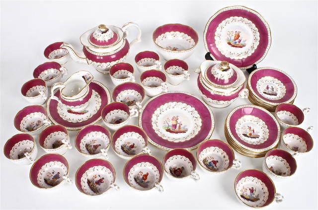 An English porcelain tea service Circa 1840