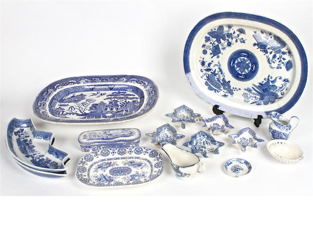 A small quantity of blue and white pottery