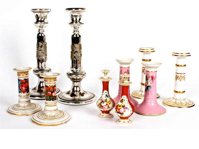 Three pairs of porcelain candlesticks Victorian