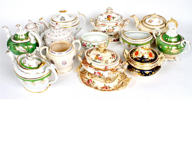 A small collection of English porcelain teapots and sugar bowls Circa 1810-50