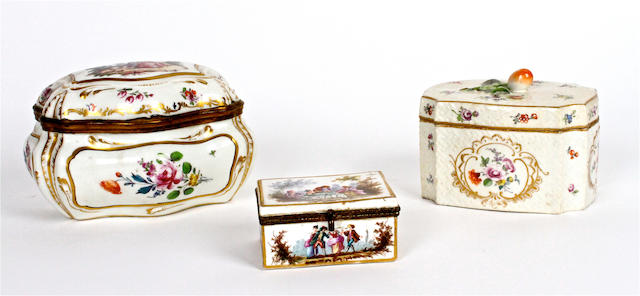 Three Dresden porcelain caskets 19th century