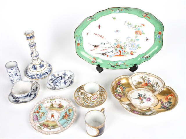 A small group of Meissen style and Sevres style porcelain Late 19th century