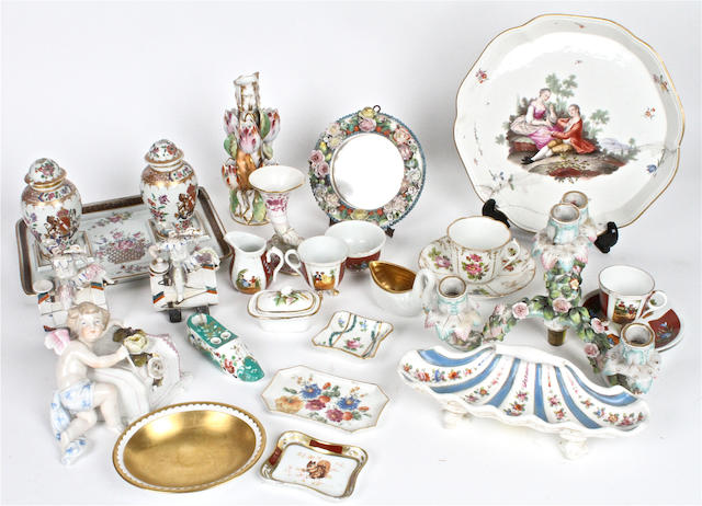 A small quantity of Continental porcelain  Mostly 19th century