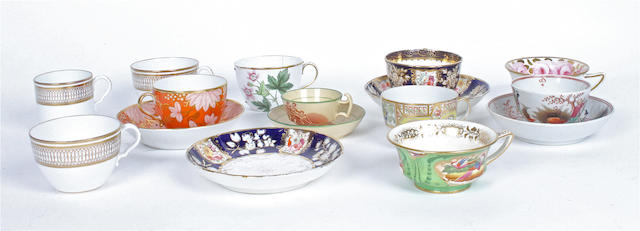 A large group of miscellaneous porcelain cups and saucers.
