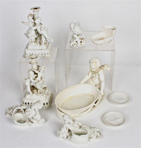 A small group of white glazed porcelain  19th century