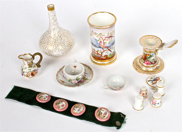 A group of English and Continental porcelain miniature wares