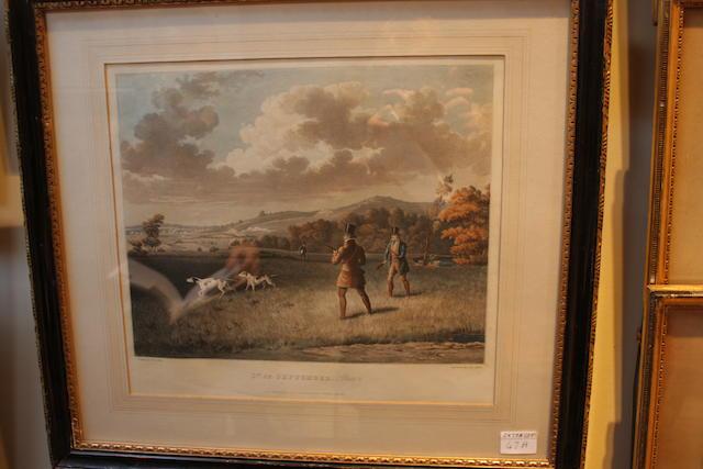 Samuel John Egbert Jones (British, active 1820-1845) '1st of September' & '1st of October' Plate 2 & plate 4, two coloured engravings published by J Moore, Upper St. Martins Lane 1827, engraved by George Hunt