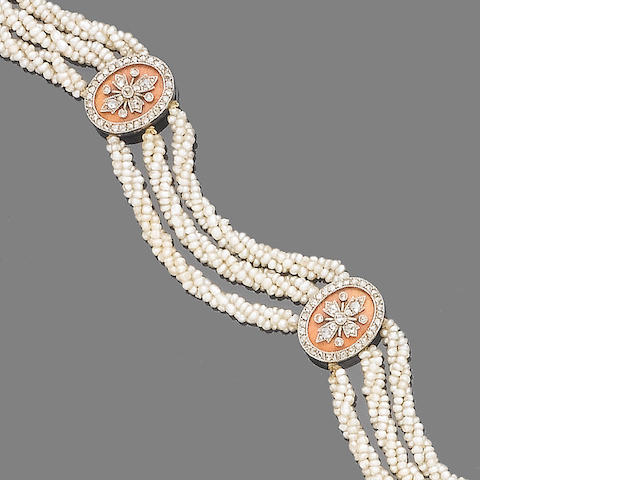 An early 20th century seed pearl, enamel and diamond bracelet,