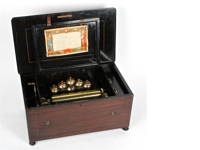 A Bells-en-Vue musical box, by Paillard Vacher et Fils,  circa 1883,
