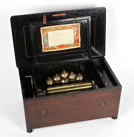 A Bells-en-Vue musical box, by Paillard Vacher et Fils,  circa 1883,
