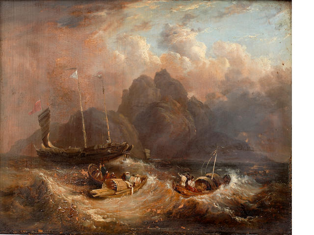Circle of George  Chinnery, RHA  (British, 1774-1852) Chinese boats caught in a squall, a mountainous island beyond.