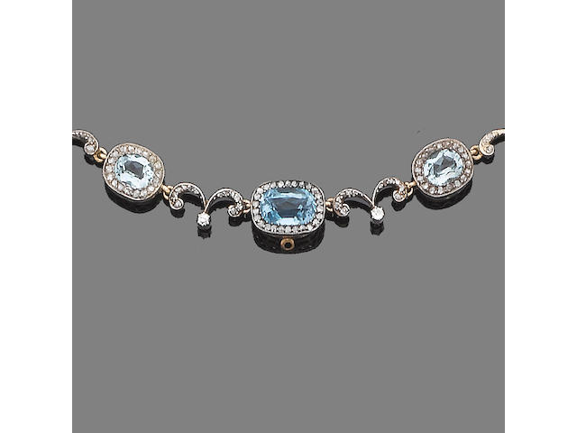 A belle époque aquamarine and diamond necklace,
