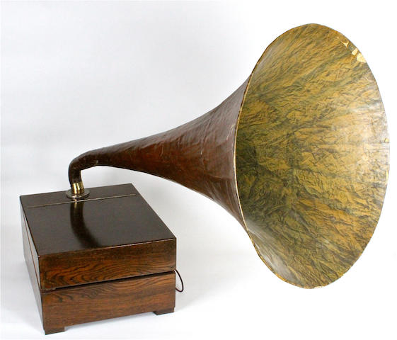 An EMG horn gramophone, Mark Xa with 3/4-depth hinged lid,