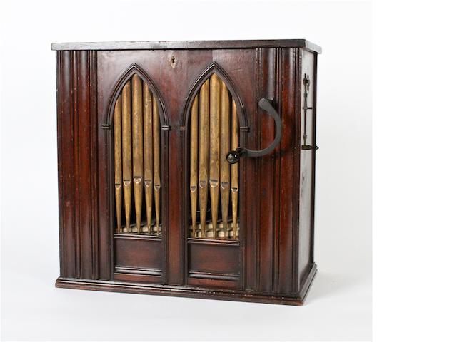 Small hand-cranked salon barrel organ,