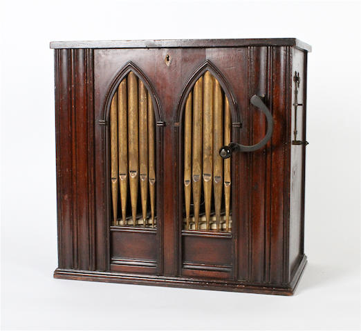 Small hand-cranked salon barrel organ,