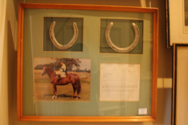 A framed and mounted autograph photo of Bob Champion on Aldaniti together with a horse shoe from Aldaniti