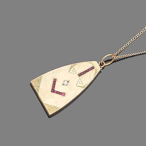 A ruby and diamond-set pendant necklace,