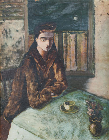 Daniel O'Neill (Irish, 1920-1974) Girl In A Cafe 51 x 40.5 cm. (20 1/4 x 16 in.)
