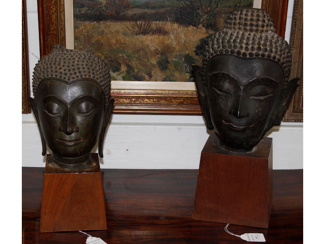 A Thai bronze head of Buddha