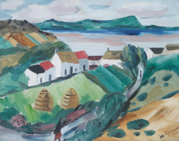 Norah McGuinness (Irish, 1901-1980) Donegal Cottages 30.5 x 38.5 cm. (12 x 15 in.)