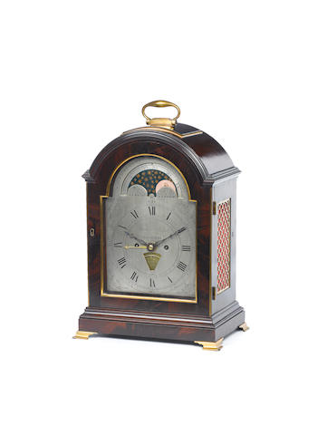 A late 18th century mahogany pad top bracket clock with moonphase Thomas Read, Ipswich