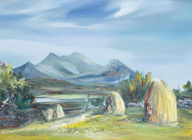 Maria Simonds-Gooding (Irish, born 1938) Coastal scene 55.4 x 76 cm. (21 3/4 x 30 in.)